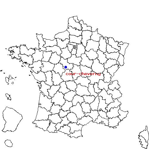 Cour-Cheverny France  City new picture : Mont près Chambord et Cour Cheverny sur la carte de France